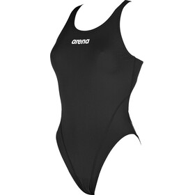 arena Solid Swim Tech High One Piece Swimsuit Women black-white